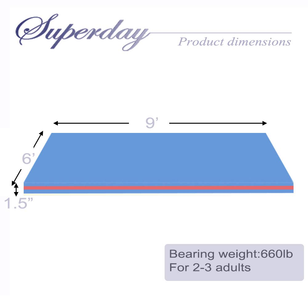 Superday Floating Water Mat Recreation Foam Pad Adults Kids Relax On Pool Lake&Ocean 9' x 6, Blue by Superday (Image #6)