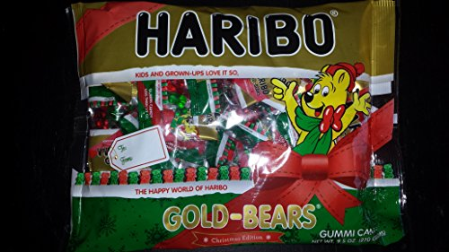 - Haribo Gold-Bears Christmas Edition Gummi Candy Mini Packages, 9.5oz Total Bag Weight