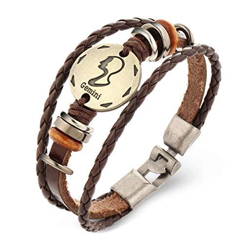 - Wrist Decoration Retro 12 Zodiac Indicators Bracelet 12 Constellation Bracelet for Ladies Men Beaded Handmade Appeal Leather Bracelet Fashion Jewellery