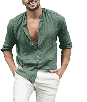 ღLILICATღ Camisa Hombre Lino Blusa Casual De Manga Larga Blusa Suelta Casual Cuello Alto Transpirable Top Color Sólido Trabajo Camisa Botón Shirt: Amazon.es: Deportes y aire libre