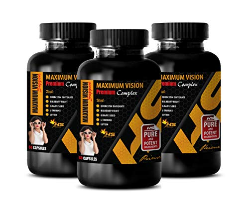 - Vision Health with Lutein - Maximum Vision Premium Complex - Bilberry Fruit Extract - 3 Bottle 180 Capsules