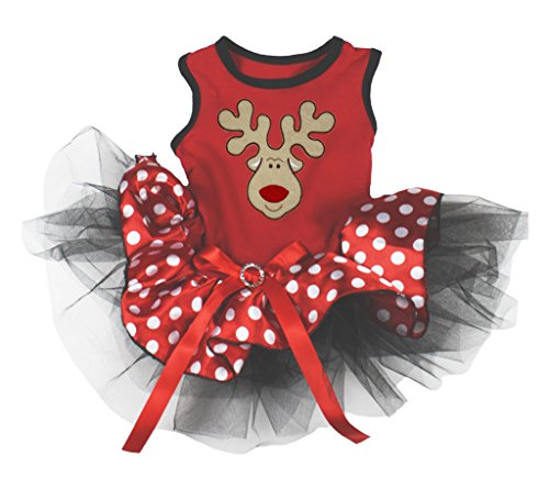 Petitebella Reindeer Face Cotton Shirt Tutu Puppy Dog Dress (Red/Red Polka Dots, Small) -