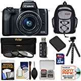 Canon EOS M50 Wi-Fi Digital ILC Camera & EF-M 15-45mm IS STM Lens (Black) with 32GB Card + Battery + Filters + Backpack + Tripod + Kit