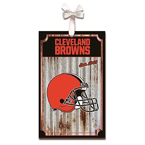 Team Sports America Cleveland Browns, Metal Corrugate Ornament, Set of 4