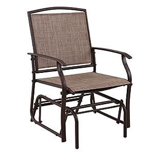 PHI VILLA Patio Glider Chair Outdoor Rocking Chair, Textilene Mesh Steel Frame,Brown