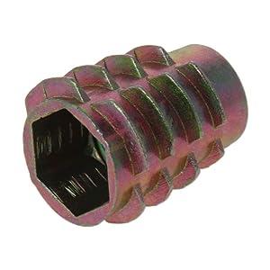 MroMax Furniture Threaded Insert Nuts Carbon Steel M10 x 20mm Internal Thread 0.80-inch Length Bronze Tone 5pcs