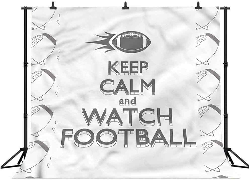 8x8FT Vinyl Wall Photography Backdrop,Football,American Sport Keep Calm Background for Baby Birthday Party Wedding Studio Props Photography
