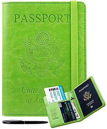 RFID Passport Holder Cover-leather Anti-theft Travel Wallet Card Case Document Organizer with Pen for Women Men(Green)