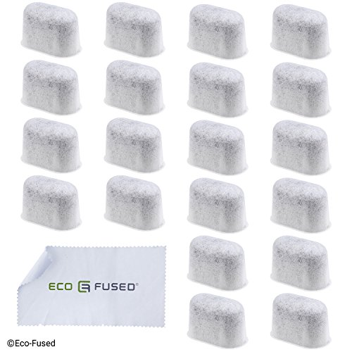 Eco-Fused Replacement Charcoal Water Filter compatible with Keurig 2.0 Models - 20 Pack - Extra Fine Grain - Fine Mesh Material - Long Lasting - For Improved Coffee Taste