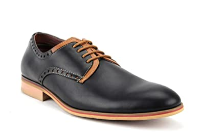 Ferro Aldo Men's 19393LE Lace Up Two Tone Round Toe Casual Oxfords Dress  Shoes, Black