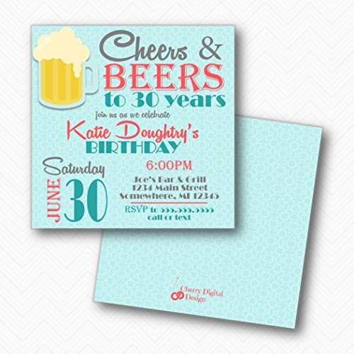 Cheers & Beers Square Birthday Invitations | Printed Teal Turquoise Coral | 30th Birthday Party]()