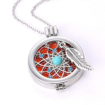 """HOUSWEETY Aromatherapy Essential Oil Diffuser Necklace - Locket Pendant, 3 Colorful Pads, 23"""" Chain"""