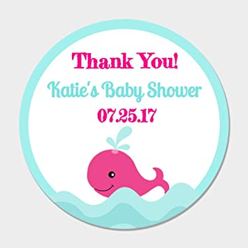 Amazon 40 Personalized Pink Blue Whale Party Favor Stickers