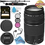Canon EF 75-300mm f/4-5.6 III Lens 6473A003 + 58mm 3 Piece Filter Kit + 64GB SDXC Card + Lens Pen Cleaner + Fibercloth + Lens Capkeeper + Deluxe 70 Monopod + Deluxe Cleaning Kit Bundle