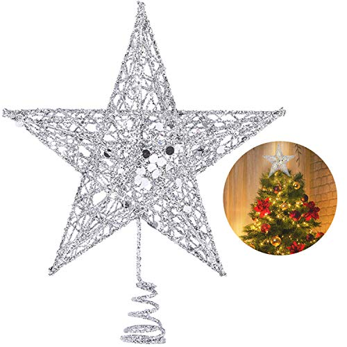 - Christmas Tree Star Topper, 10 Inch Xmas Tree Topper Star Christmas Decoration Glittered Tree-top Star for Christmas Tree Ornament Indoor Party Home Decoration