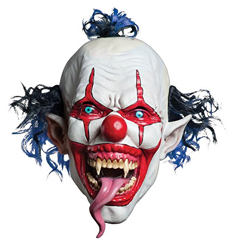 Halloween Costumes Scary Clown Mask (Morbid Enterprises Snake Tongue Evil Clown Mask, Red/White/Blue, One Size)