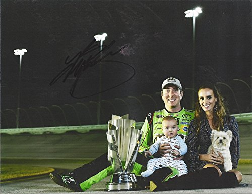 AUTOGRAPHED 2015 Kyle Busch #18 M&Ms Crispy Racing SPRINT CUP SERIES CHAMPION (Championship Trophy with Family)...