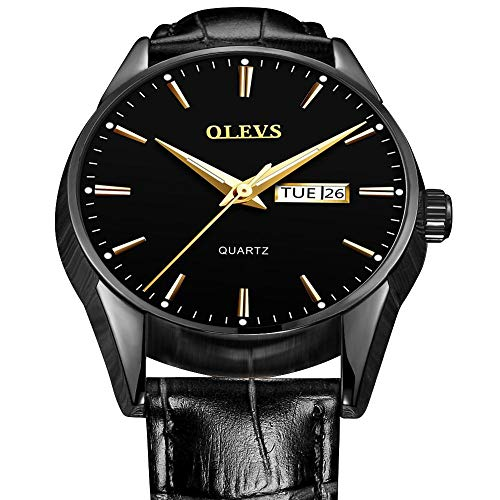 - Men's Black Dress Watch Black Face,Men Watches with Day and Date OLEVS,Mens Quartz Watch with Date,Luxury Business Watches on Sale,Classic Watches for Men Waterproof Luminous Watches Black Leather