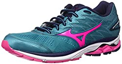 Mizuno Running Women's Wave Rider 20 Shoes, Tile Bluepink Glopeacoat, 7 B Us