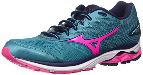 Mizuno Running Women's Wave Rider 20 Shoes, Tile Blue/Pink Glo/Peacoat, 9 B US