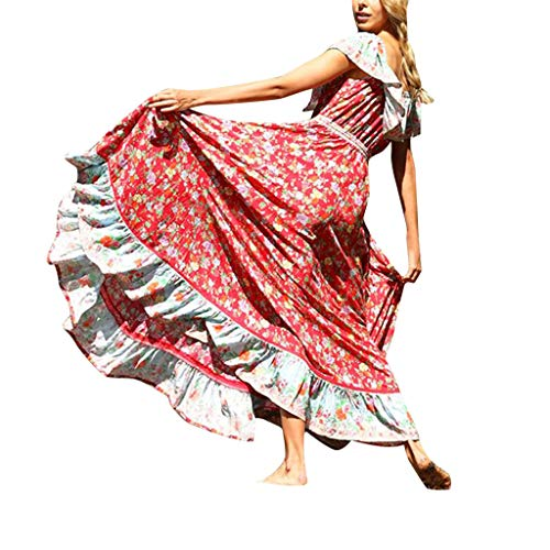 Women Dresses For Special Occasions Sexy Cocktail,Women's Summer Bohemian Printed Waist V-Collar Chiffon Beach Long Dresses by SUNSEE WOMEN'S CLOTHES PROMOTION (Image #7)