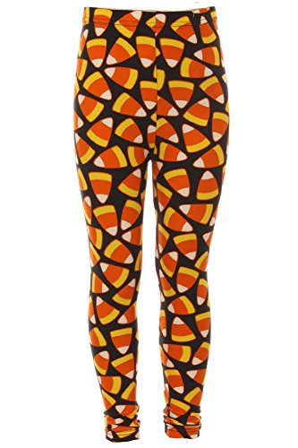 Girl's Candy Corn Orange Yellow Pattern Printed Leggings - S/M