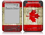 Painted Faded and Cracked Canadian Canada Flag - Decal Style Skin fits Amazon Kindle 3 Keyboard (with 6 inch display)