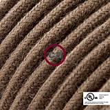 Brown Cotton Covered Round Electric Cable - RC13-8ft, 3 x 18 AWG