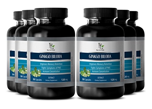 Liver health supplements - GINKGO BILOBA LEAF EXTRACT 120MG - Ginkgo biloba herbal factors - 6 Bottle 300 Capsules by PL NUTRITION