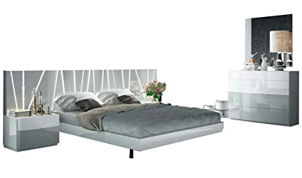 ESF Ronda Modern King Bedroom Set With Salvador Bed In White U0026 Light Gray, 5