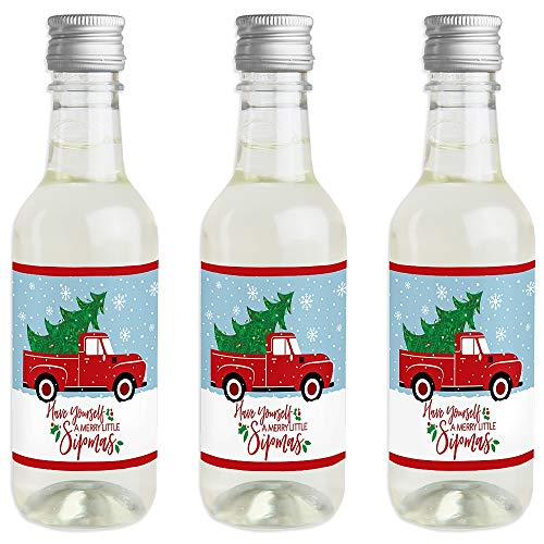 Merry Little Christmas Tree - Mini Wine and Champagne Bottle Label Stickers - Red Truck Christmas Party Favor Gift for Women and Men - Set of 16