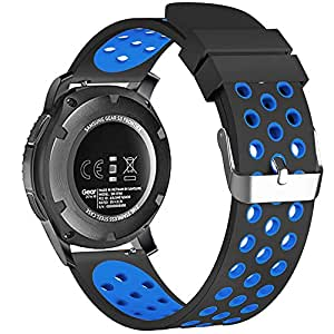 22mm Universal Smart Watch Bands, FanTEK Soft Silicone Sport Quick Release Watch Strap Wristband for Pebble Time Steel/Moto 360 for Men 2nd Gen ...