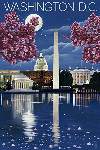 Washington, Dc - Night Scene Art Print, Wall Decor Travel Poster