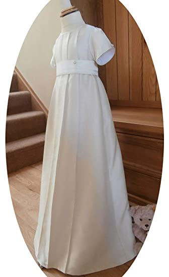b92f8c736 ShineGown Christening Outfit of Baby Boys Baptism Gown with Bonnet Short  Sleeves 0-24months White Ivory: Amazon.co.uk: Clothing