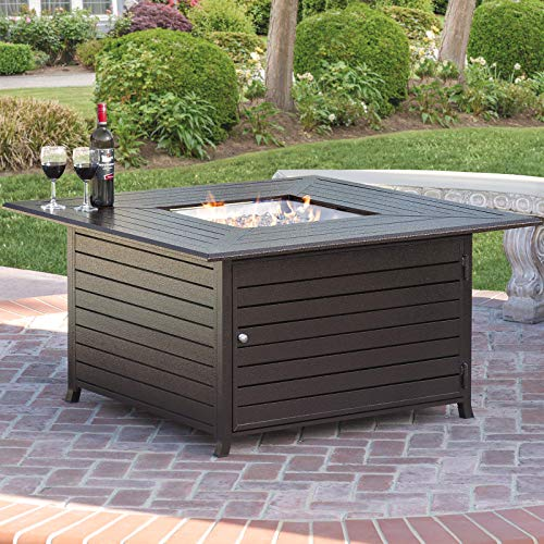 (Best Choice Products 45x45in Extruded Aluminum Square Gas Fire Pit Table for Outdoor Patio w/Weather Cover, Lid, Propane Tank Storage, Glass)