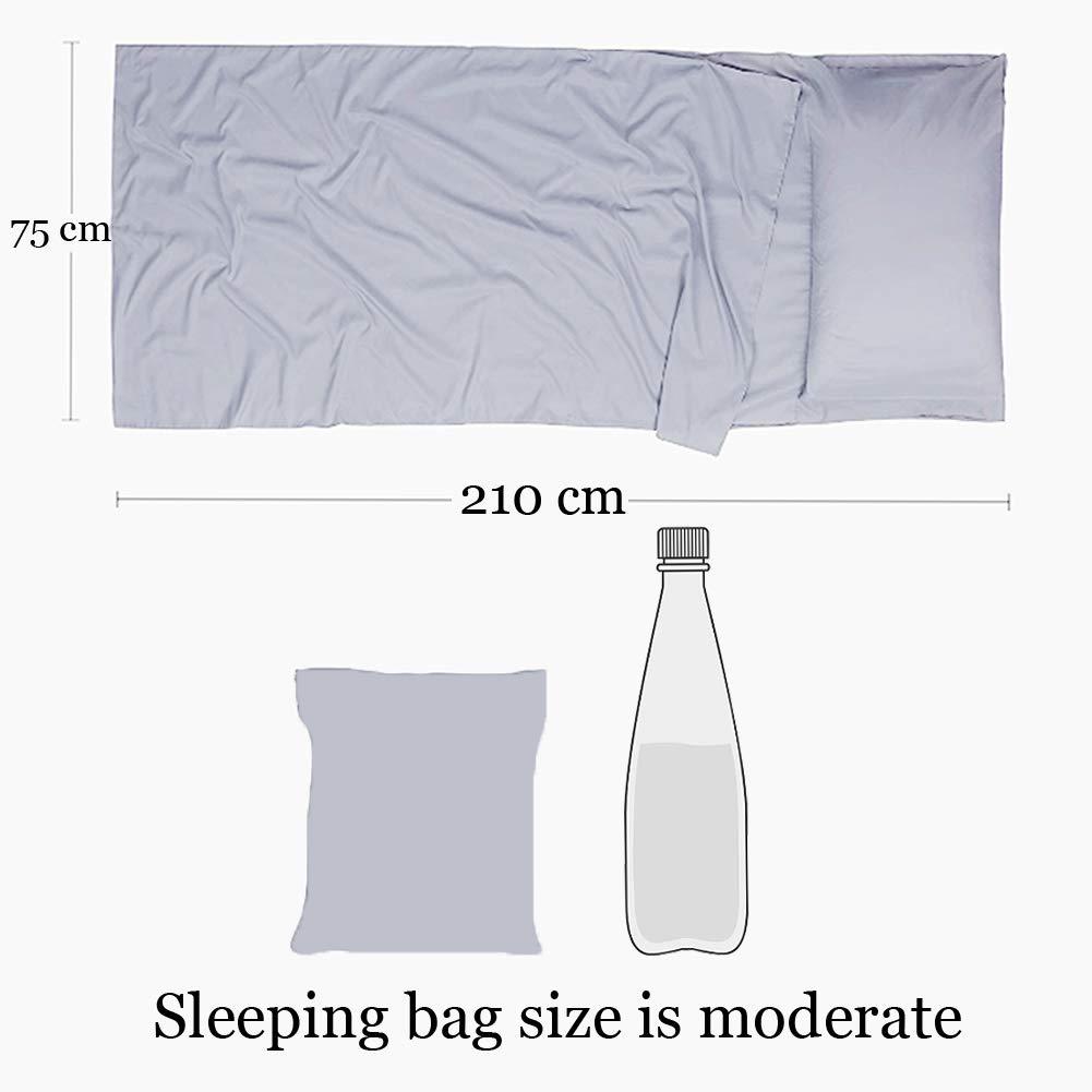 210x75cm Grau WENTS Schlafsack Liner Tragbarer Leichter Schlaf-Bettlaken-Set Superweiches Reiseblatt mit Kissen-Taschen Ideal f/ür Campingwandern