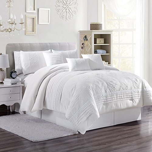 - 7 Piece Vanya White Comforter Set Cal King