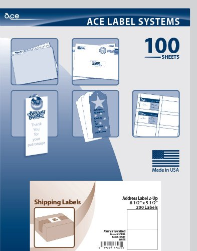Ace Label Half Sheet Shipping Labels for Laser and Inkjet Printer, Avery 5126 Sized, 8.5 x 5.5 Inches, Pressure-Sensitive Labels, White, 100 Sheets, 2 per Sheet, 37800L