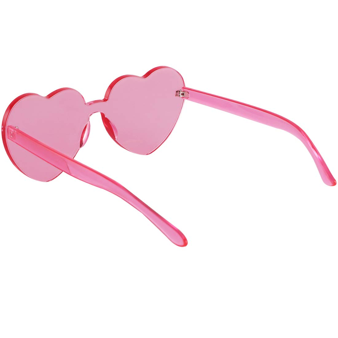 kilofly 6 Rimless One Piece Clear Candy Color Women Heart Shaped Sunglasses KTG368set6B