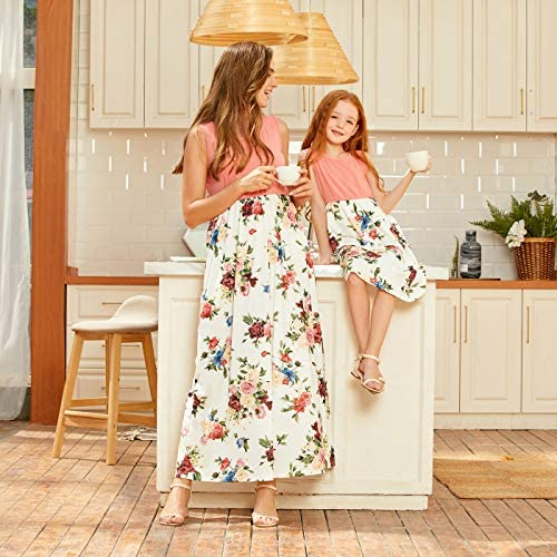 IFFEI Mommy and Me Matching Knee Dress Sleeveless Rainbow Printed Summer Casual Tassels Dress for Mother Daughter