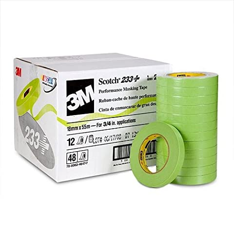 3M 26334 Scotch 233+ Green Automotive Masking Tape, 3/4