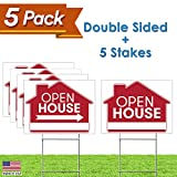 "Open House Sign Bundle Kit – [Upgraded] 5 Double Sided Red Pro Real Estate Property Yard Signs Bulk Pack & 5 Heavy Duty H Wire Stakes – Large Directional Arrows - 18""x 24"" Realtor Agent Supplies"