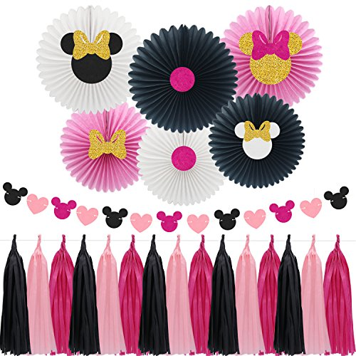Minnie Mouse Party Decoration Supplies, Pattern Paper Fans with Pink & Black Paper Tassel Garland, Perfect for Girls Birthday Party for $<!--$15.99-->