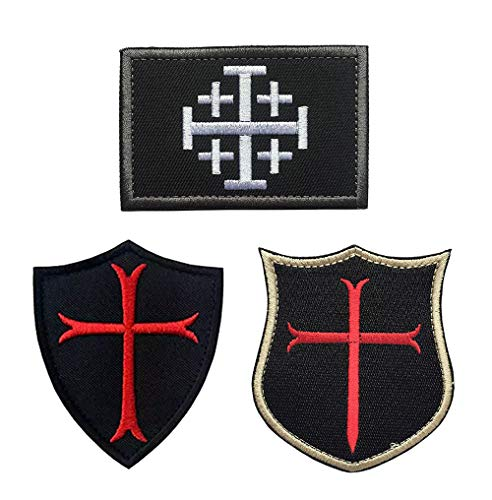 Antrix 3 Pieces Jerusalem Cross Crusader Order Holy Sepulchre Crusader Shield Emblem Patch and Crusader Knight Emblem Badge Patch Hook & Loop Tactical Military Morale Patches