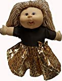 Metallic Gold And Brown Doll Dress For Cabbage Patch Kid Dolls