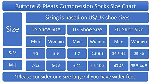 Buttons & Pleats Womens & Mens Medical Grade 20-30 mmHg Compression Socks Pinstriped ML by Buttons & Pleats (Image #1)