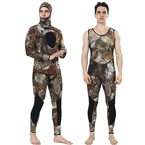 Realon Wetsuit 5mm Full Spearfishing Suit Camo Scuba Diving Suit Spearfishing Suits Snorkeling Suits Men (camo, X-Large)