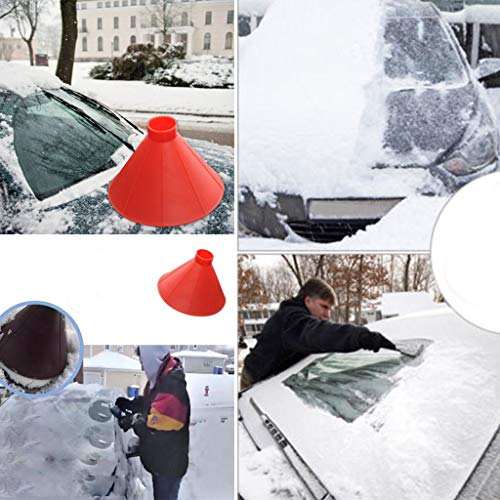 Car Accessories Scrape A Round Magic Cone Cleaning Tool,Alalaso Windshield Ice Scraper Snow Becomes A Funnel Shovel Tool - Scrape Frost and Ice (Red)