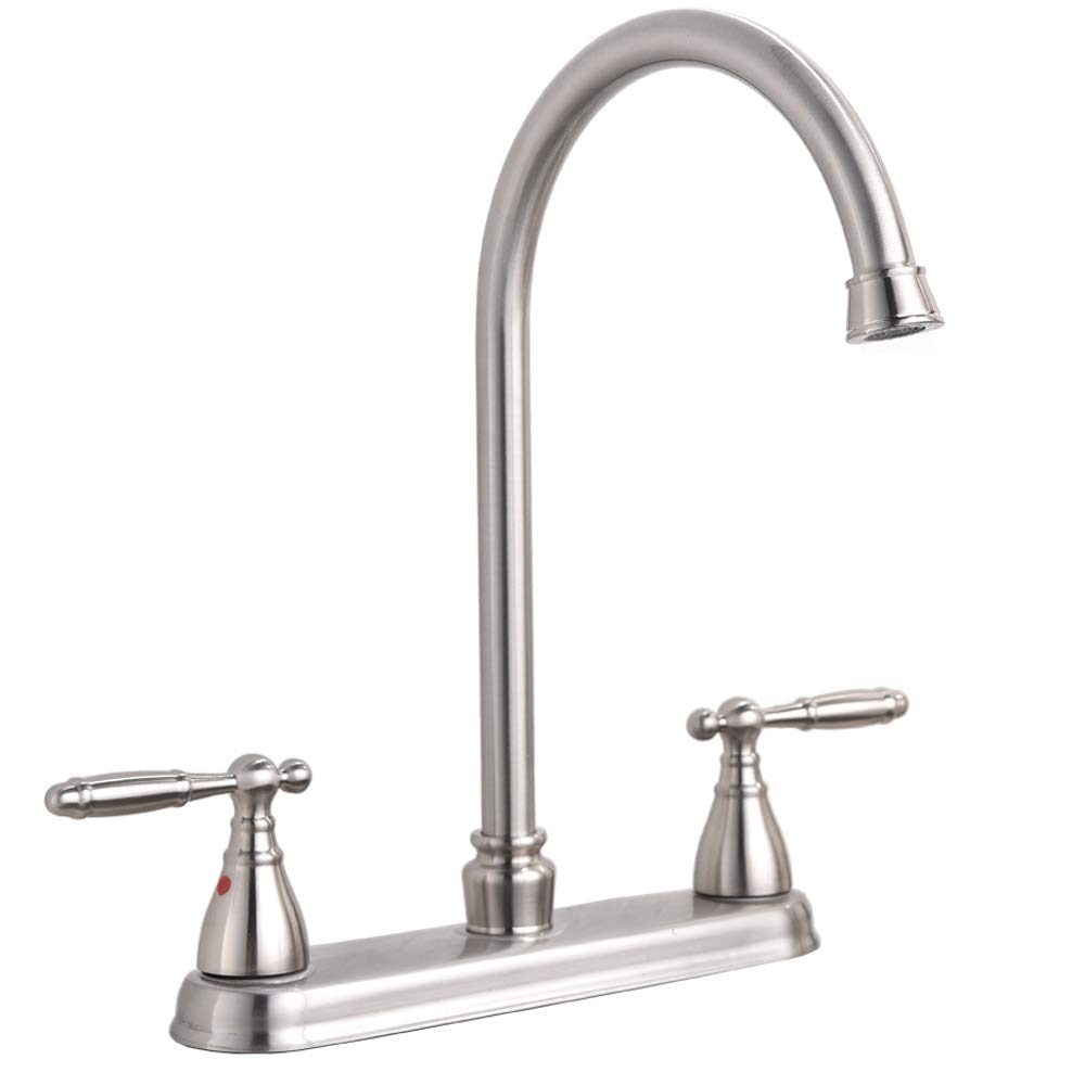 Hotis Commercial Stainless Steel Lead-Free Two Lever Two Hole Gooseneck High Arc Two Handle Kitchen Sink Faucet,Brushed Nickel Kitchen Faucet