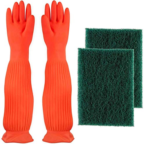 AroHome Cleaning Set - Long Waterproof Reusable Silicone Rubber Gloves - 2 Pack Heavy Duty Scrub Sponge Brush, For All Scrubbing Needs  22' Heavy Duty Water Wand